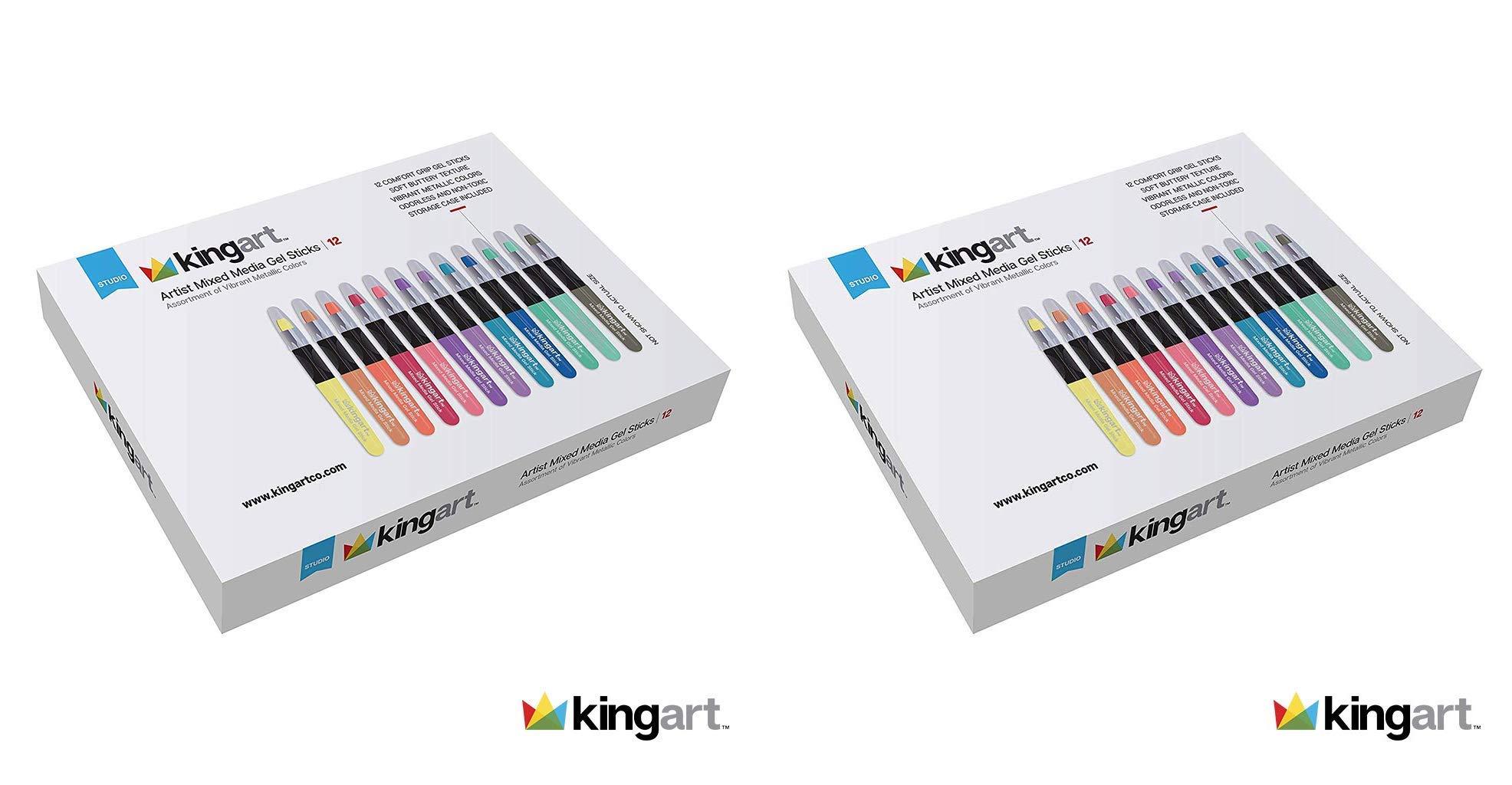 KINGART Metallic Artist Mixed Media Gel Sticks - Set of 12, Vivid Colors (Twо Pаck) by KINGART