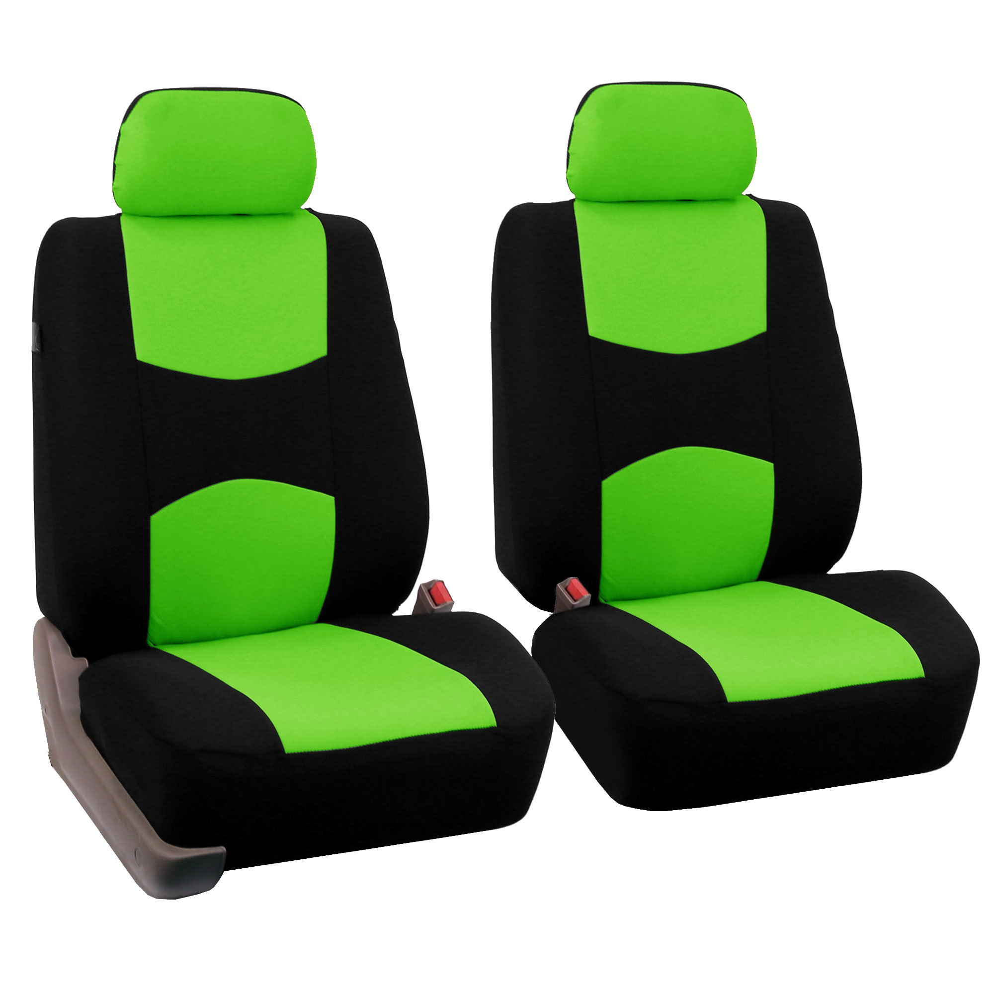 FH-FB050102 Flat Cloth Pair Bucket Seat Covers Green / Black Color- Fit Most Car, Truck, Suv, or Van