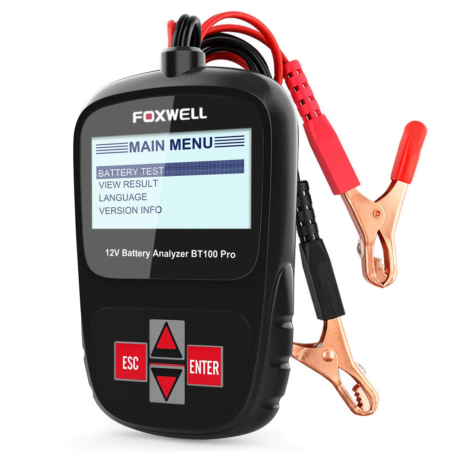 FOXWELL Car Battery Tester BT100 Pro LCD Screen 12V Digital Battery Load Tester Automotive Charging System Analyzer for Car Motorcycle