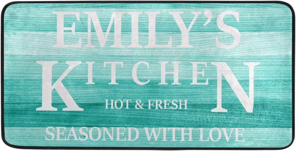 Custom Sunflower Kitchen Rug Floor Mat - Turquoise Wood Kitchen Mats for Floor Washable Personalized Anti Fatigue Cushion Comfort Mat for Kitchen Seasoned with Love Teal Sunflower Decor