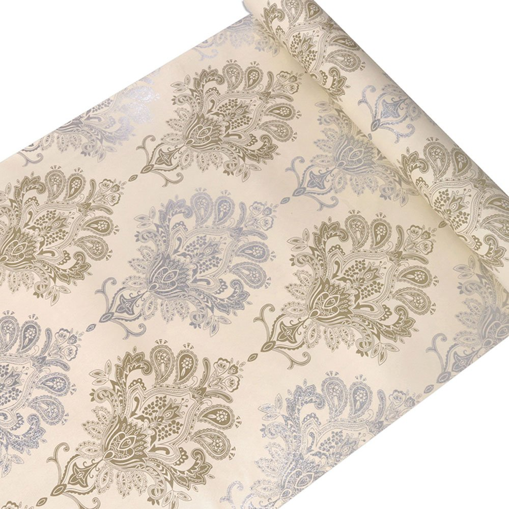 Blue Yellow Damask Contact Paper Decorative Self Adhesive Shelf Drawer Liner Peel and Stick Wallpaper for Kitchen Cabinets Drawers Countertops Windows Crafts 17.7'' x 393''