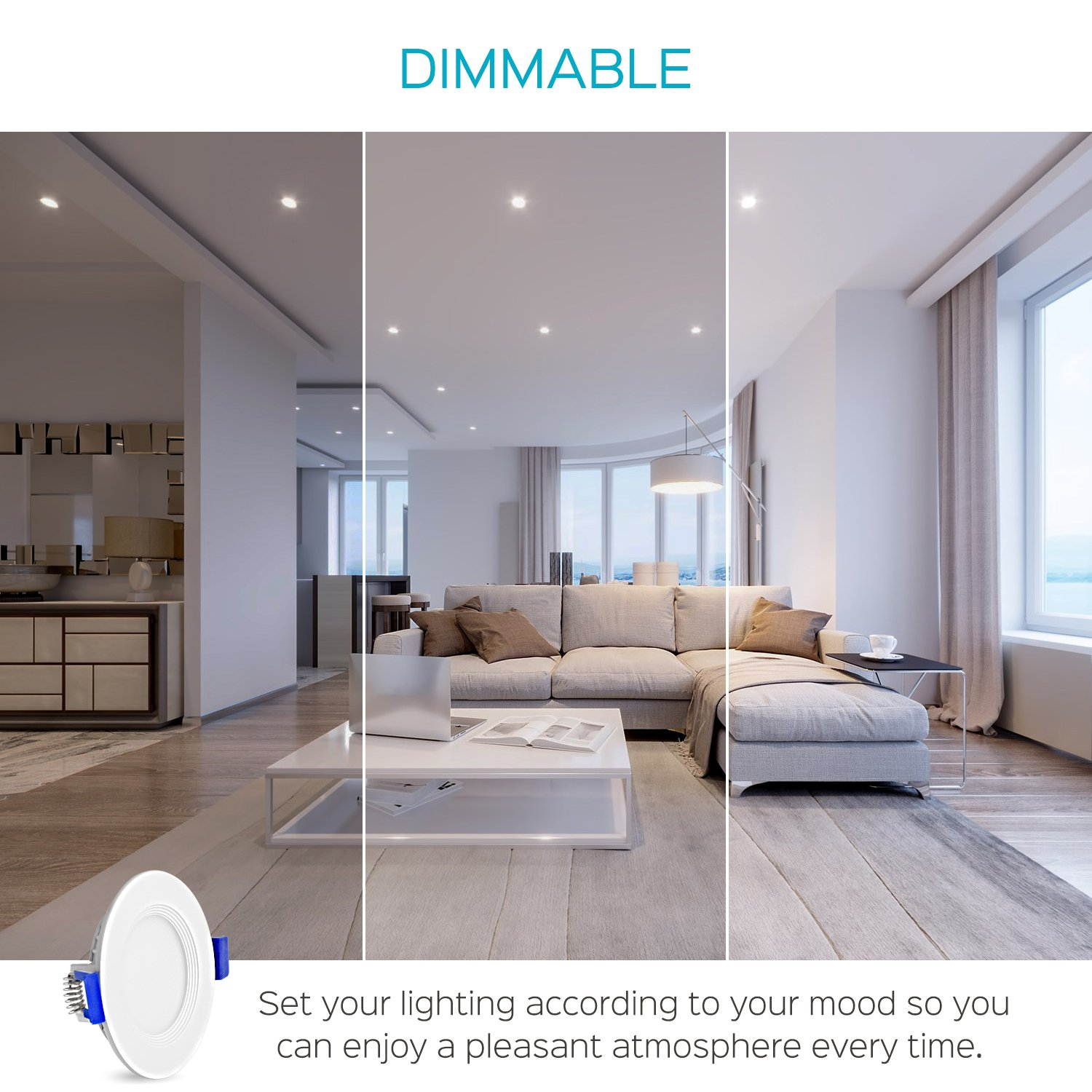3 Inch Ultra Thin LED Recessed Ceiling Light with Junction Box, Luxrite, 7W, 5000K (Bright White), 450 Lumens, Dimmable, Low Profile Recessed Downlight, ETL & IC Rated (4 Pack) by Luxrite (Image #6)