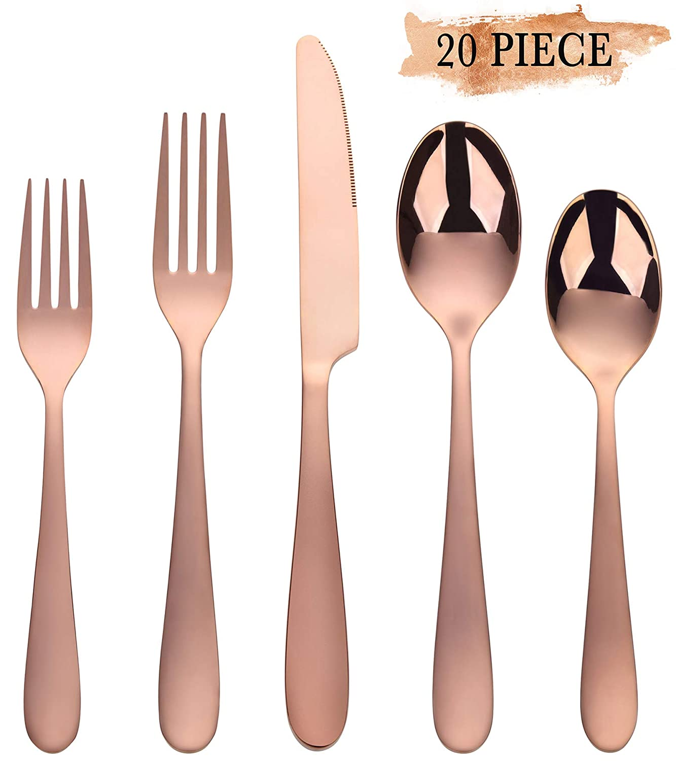 Rose Gold Silverware Set, Stainless Steel Silverware Flatware 20-Piece Cutlery Set, Utensils Service for 4 Include Mirror Polished Knife/Fork/Spoon, Dishwasher Safe