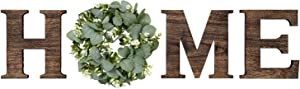 Mkono Wall Hanging Wood Home Sign with Artificial Eucalyptus for O Rustic Wooden Home Letters Decorative Wall Decor Signs for Living Room House, 9.8''H x 8.5''W