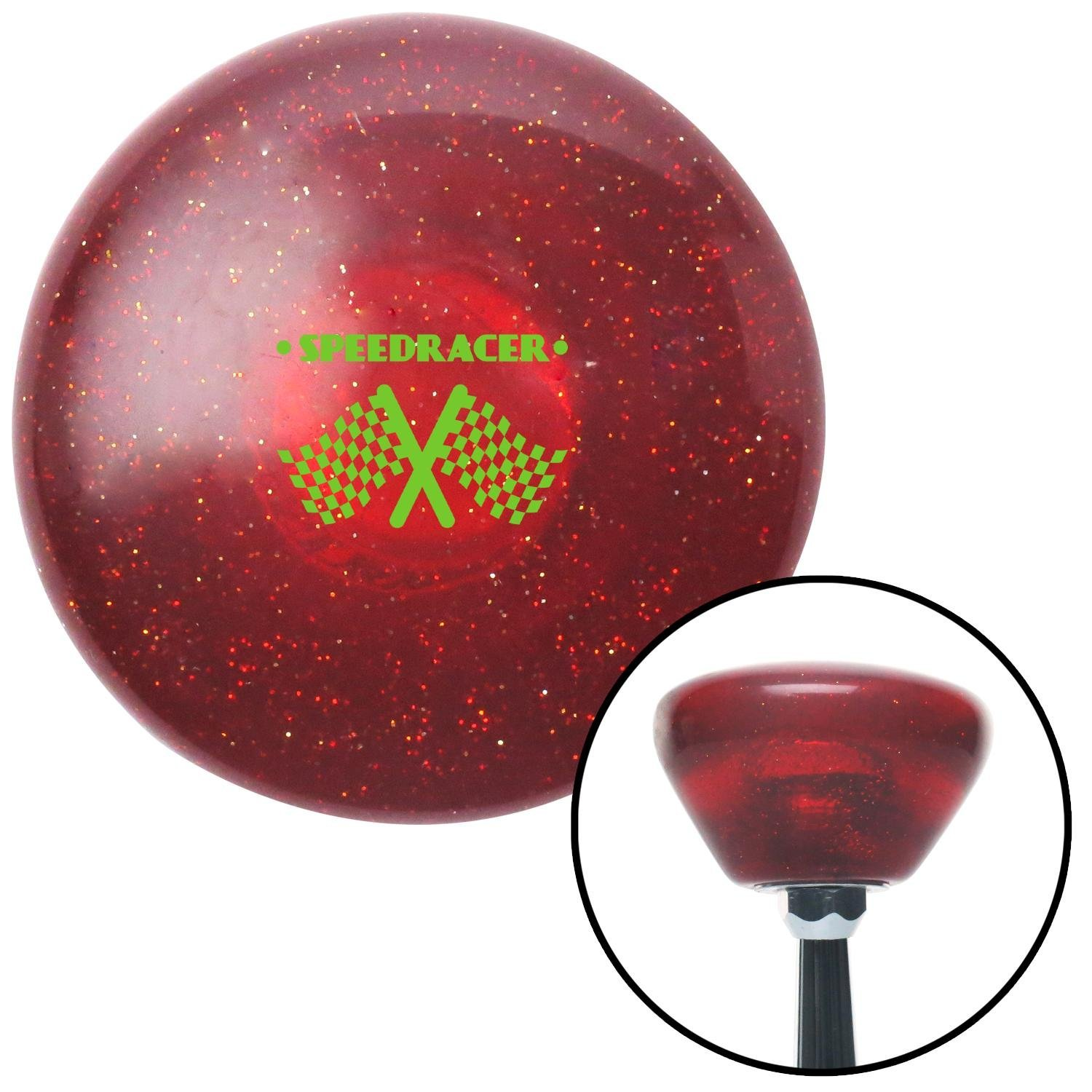 American Shifter 291342 Shift Knob Green Speed Racer Red Retro Metal Flake with M16 x 1.5 Insert