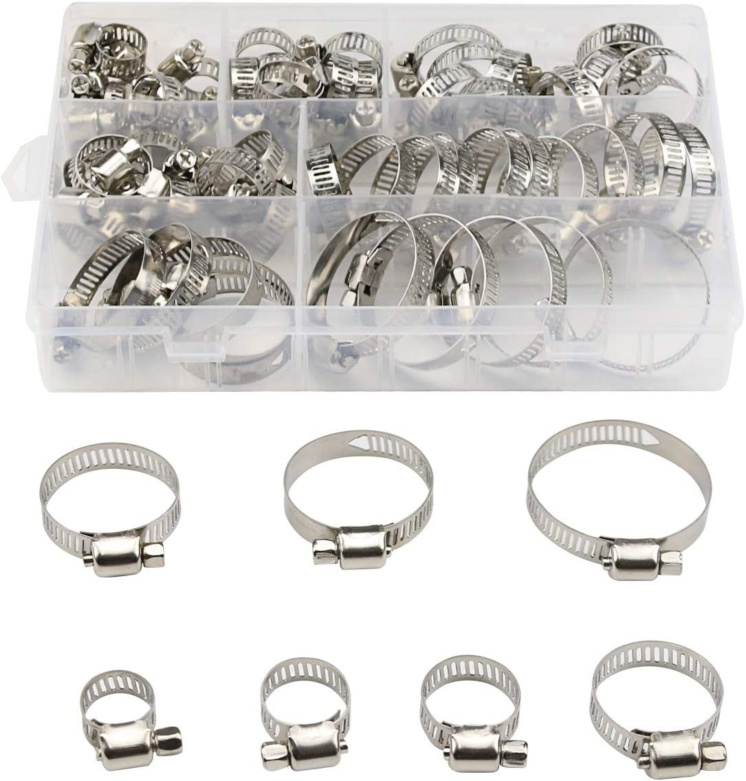 Acescen Hose Clamp 60PCS Stainless Steel Adjustable 6-38mm Worm Gear Hose Clamps Assortment Kit Fuel Line Clamp for Plumbing, Automotive and Mechanical Applications A07