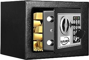 TENAMIC Safe Box 0.23 Cubic Feet Electronic Digital Security Box, Keypad Lock Box Cabinet Safes, Solid Alloy Steel Office Hotel Home Safe, Black
