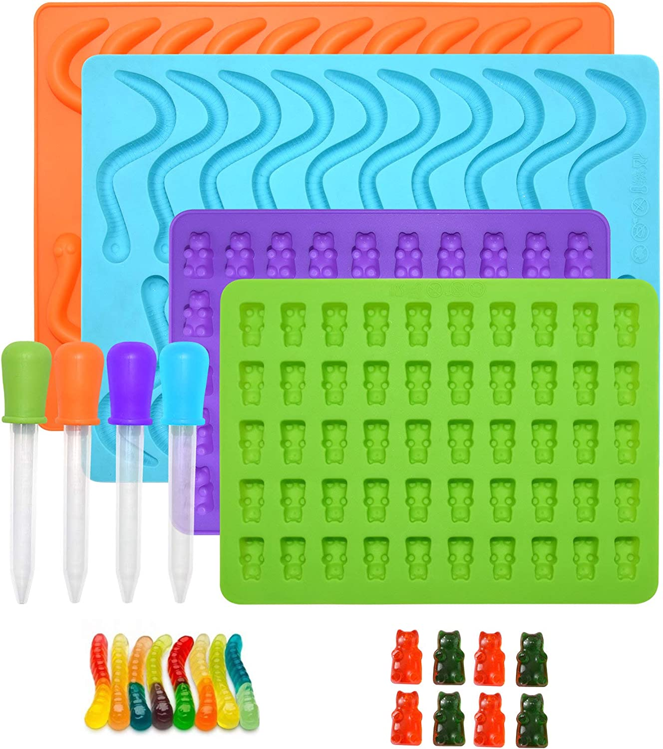 Gummy Worm & Gummy Bear 4pcs Silicone Candy Molds / 4 Droppers ~Set of 8 Lot Teddy Bear & Worm Shaped Food Grade for making Gummy Candy Chocolate Ice Cube Frozen treats family Fun Cooking candy making
