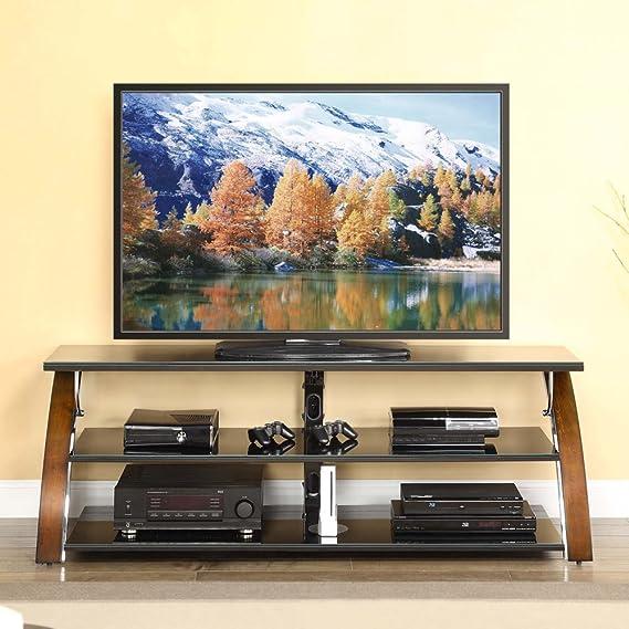 Moderno soporte de televisión de 65 pulgadas 3 en 1 giratorio, montaje en pared y mesa con 3 estantes para decoración del hogar, pantalla plana de TV y gestión de cables para