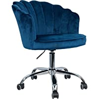 MOJAY Modern Home Office Chair Upholstered Velvet Swivel Chair with Arms and Back for Adjustable Cute Vanity Chair for…