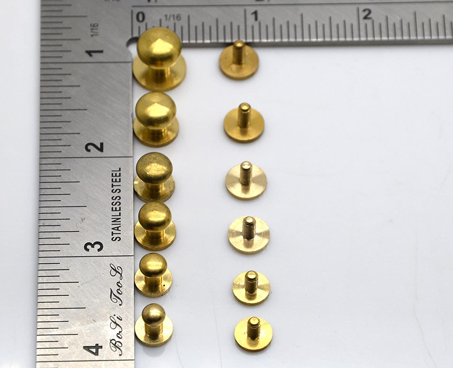 Okones Pack of 24,2//5 1//3 3//8 2//7 1//4 1//5 Solid Brass Leathercraft Studs Buttons Cap Rivets Nailheads Stud Spike DIY Purse Handbag 2//5+1//3+3//8+2//7+1//4+1//5