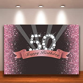Crefelicid 7x5ft Pink and Black Fifty Birthday Background Glitter Happy Birthday 50th Birthday Backdrop Adults Party Decorations Cake Table Banner