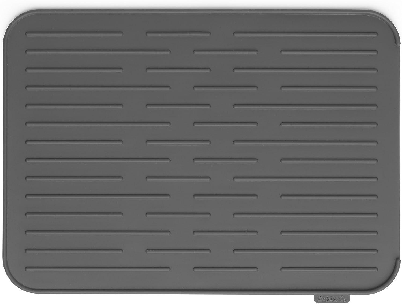 Brabantia Alfombrilla Escurreplatos de Silicona, Gris Oscuro, 43,8x 32.5x 0,9cm