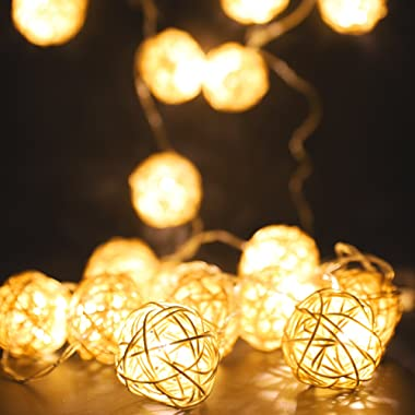 MoKo String Lights 3m/9.8ft 20 LED Rattan Ball Fairy Lights USB & Battery Powered Twinkle Globe Lights for Indoor Bedroom Christmas Wedding Home Decoration - Warm White