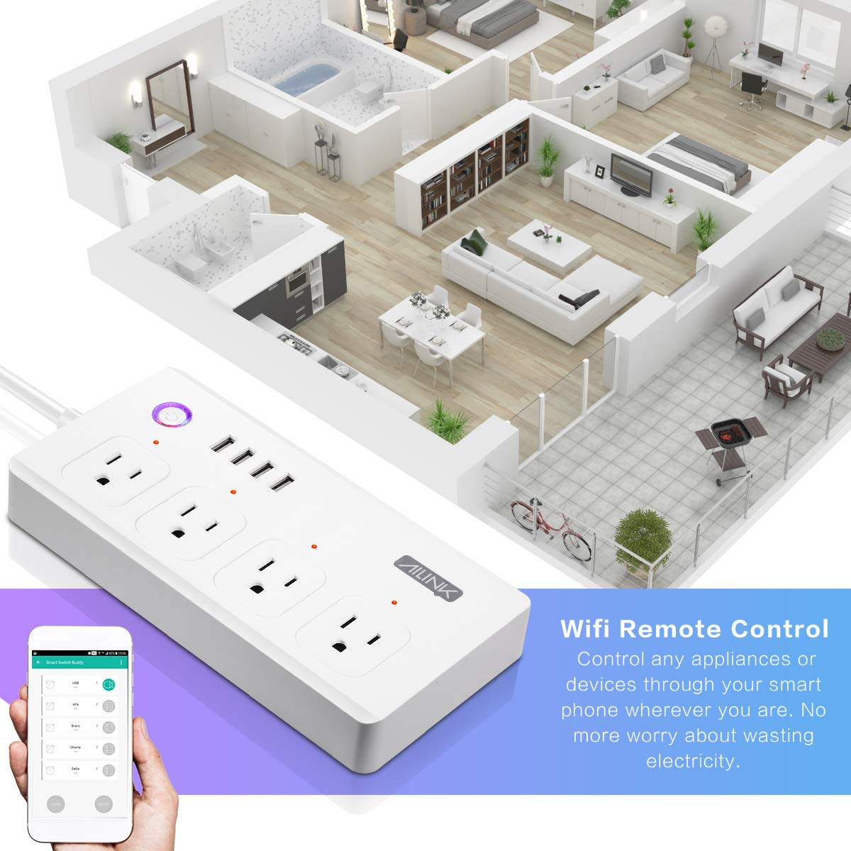 WiFi Power Strip Work with Alexa Smart Power Board AILINK Timer Schedule, Surge Protector with 4 Outlets and 4 USB Ports White by AILINK (Image #2)