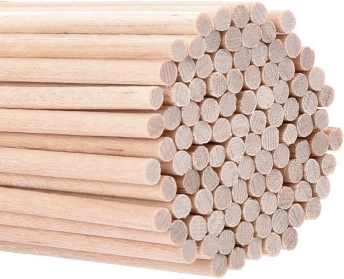 Palillos de Madera sin Acabado Palos Redondos para Manualidades 100 Pack 6 x 1//8 Pulgadas