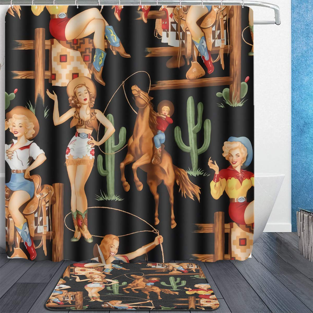"""Tidyki Sexy Lady Western Girl Cowgirl Shower Curtain and Rug Set Bathroom Fabric Waterproof Home Decor with 12 Hooks and Anti-Slip Absorbent Bath Mat Rugs 60""""x72"""""""