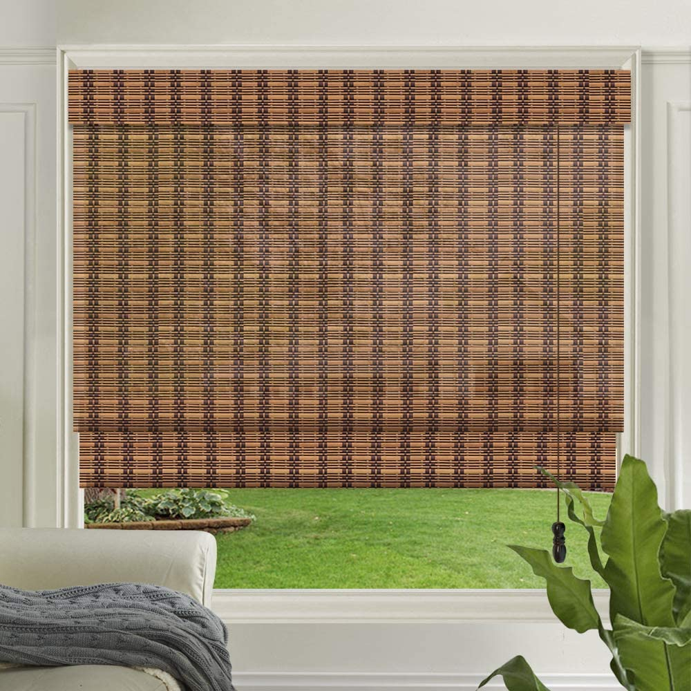 LETAU Wood Window Roman Shades, Bamboo Light Filtering Window Blinds for Indoor Home, Office, Kitchen, Pattern 10