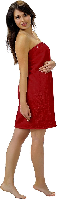 bianco puro 100 /% cotone Framsohn Costume per sauna Kilt da donna FUN con bottoni e tasca applicata colore