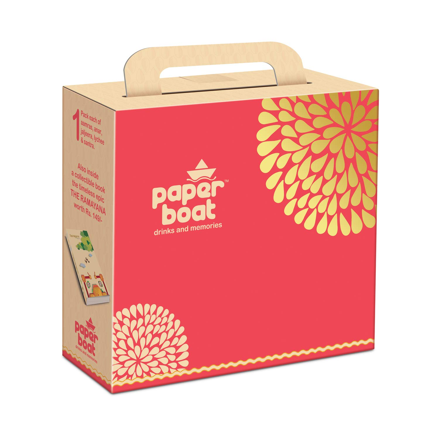 Paper Boat Festive Gift Pack, Assortment of Fruit Juices with Ramayan Book, 5 Flavours( Anar, Aamras, Jaljeera, Lychee, Orange ) Pouch, 1000 ml