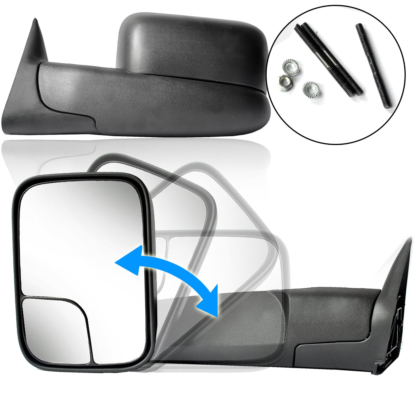 ECCPP Towing Mirror Replacement fit Dodge 94-01 Ram 1500, 94-02 Ram 2500 3500 Pickup Truck Manual Towing Tow Mirror Left Driver and Right Passenger Pair Set Fits 60177-78C Side Mirror by ECCPP