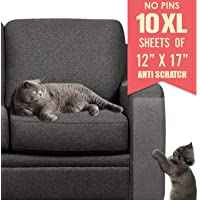 Ronton Cat Scratch Deterrent Tape - 12 in X 17 Anti Scratch Tape for Cats   100% Transparent Clear Double Sided Training Tape   Pet & Kid Safe   Furniture, Couch, Door Protector (10 Sheet)