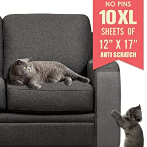 Ronton Cat Scratch Deterrent Tape - 12 in X 17 Anti Scratch Tape for Cats | 100% Transparent Clear Double Sided Training Tape | Pet & Kid Safe | Furniture, Couch, Door Protector