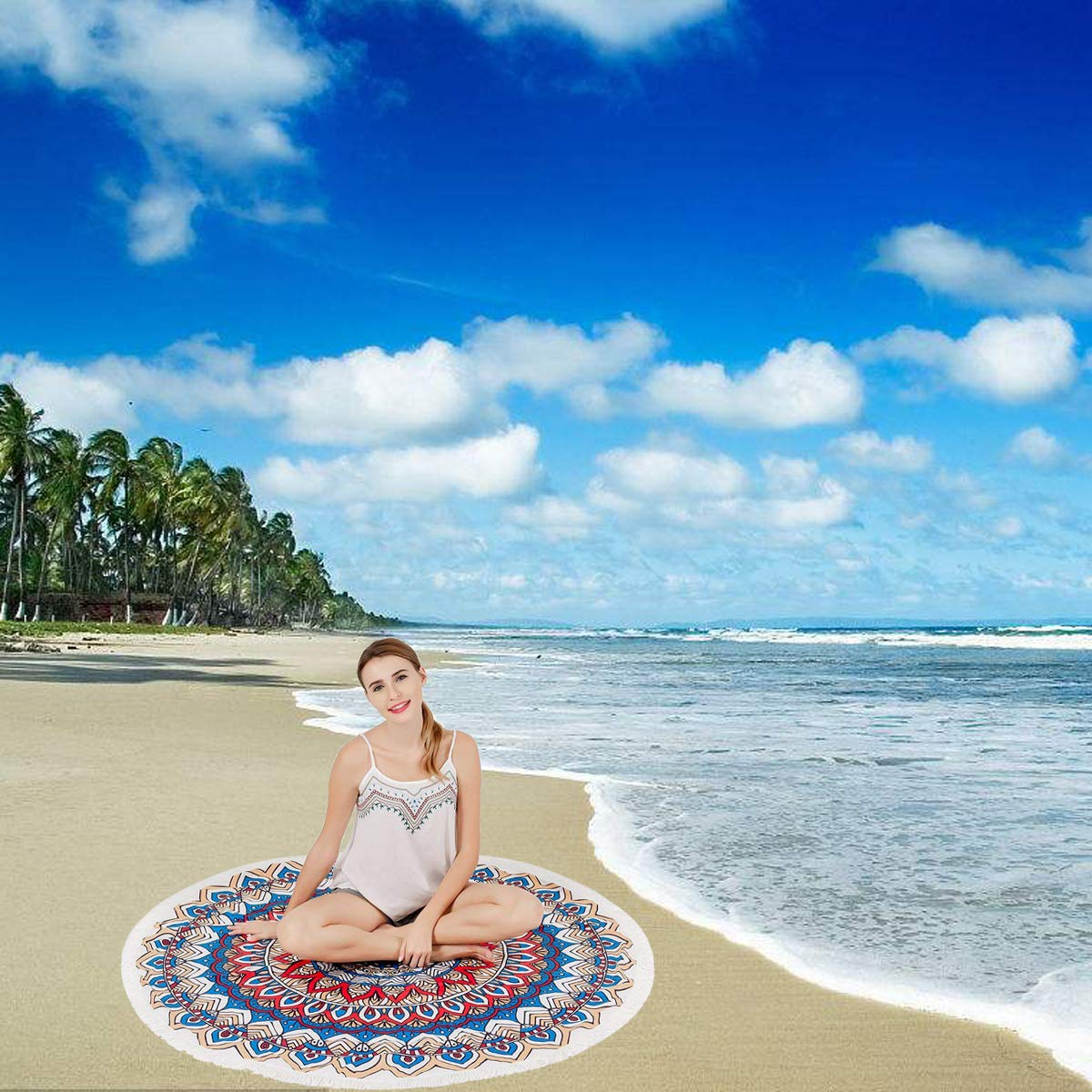 Yoga Mat Picnic Table Cover Meditation Lvtree Round Tapestry Spread Hippy Bohemian Mandala Roundie for Beach Towel Tablecloth