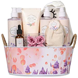 Gifts Set for Women,Bath and Body Baskets - Rosewater and Lavender 11 Pcs Bath Gifts for Women, Includes Bubble Bath, Body Lotion, Shower Gel and More,At Home Spa Gift for Her