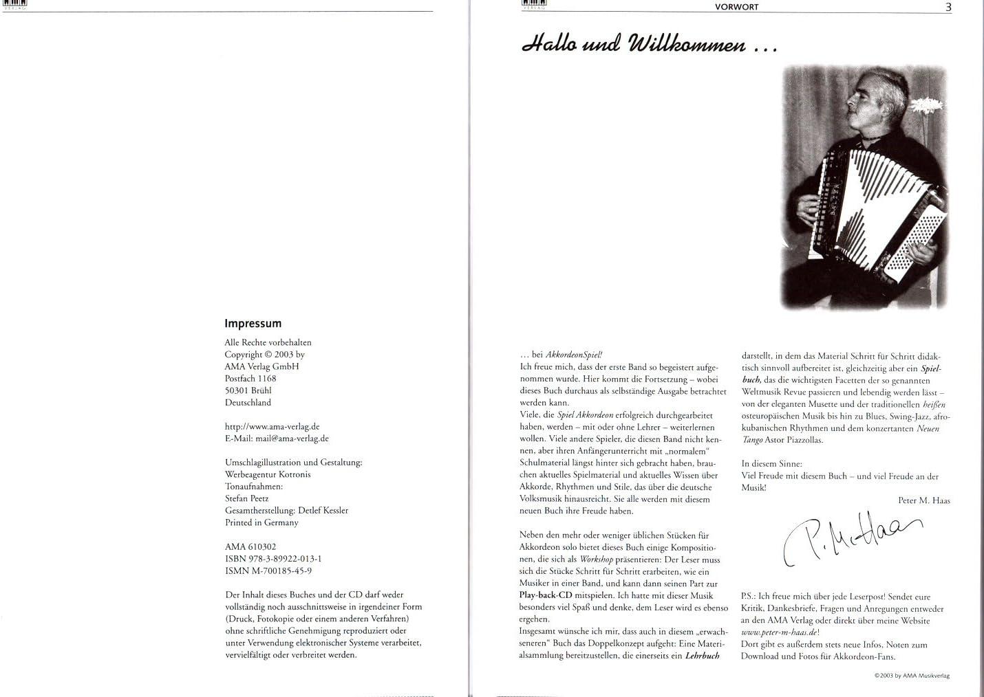 Acordeón parte de banda 2 – primera Acordeón de colegio para avanzados de Peter Michael Haas – Ordenador libro con CD y Peter Michael Haas