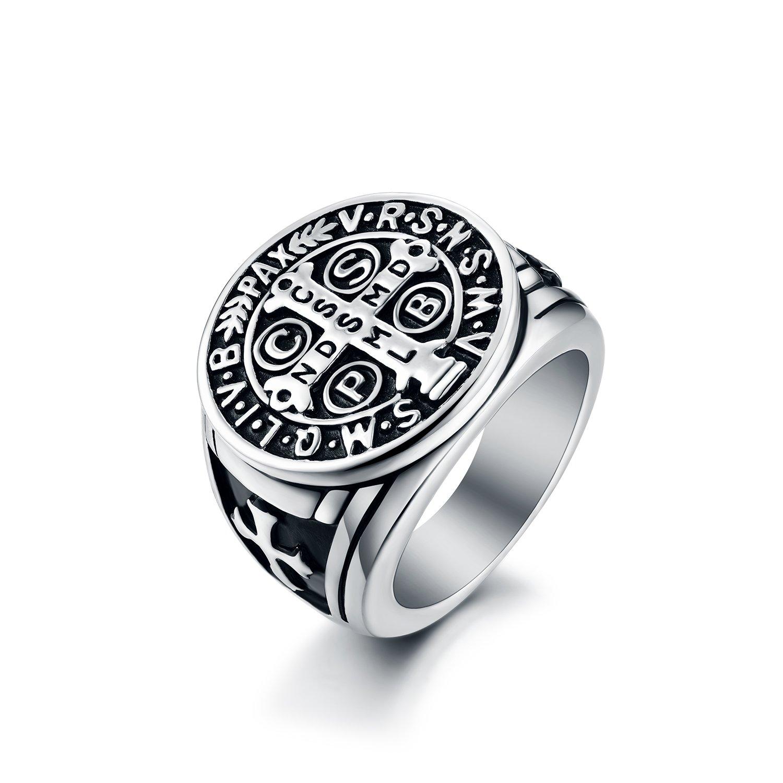 LAOYOU Uomo ST Benedict Exorcism anello in acciaio INOX Cattolica romana Cross Demon protezione Ghost Hunter LY3SR016