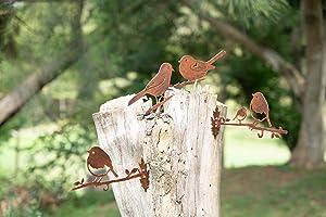 TT & MM Garden Design Metal Bird Silhouette with 16 Screws (Set of 4) Rusty Patina Birds with Hook - Hanging Yard Art Decor Outdoor Statues