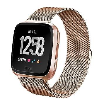 Heyroy Fitbit - Pulsera Unisex Versa de Malla de Acero Inoxidable con imán para Fitbit Versa Finess Smartwatch, Color Oro Rosa …