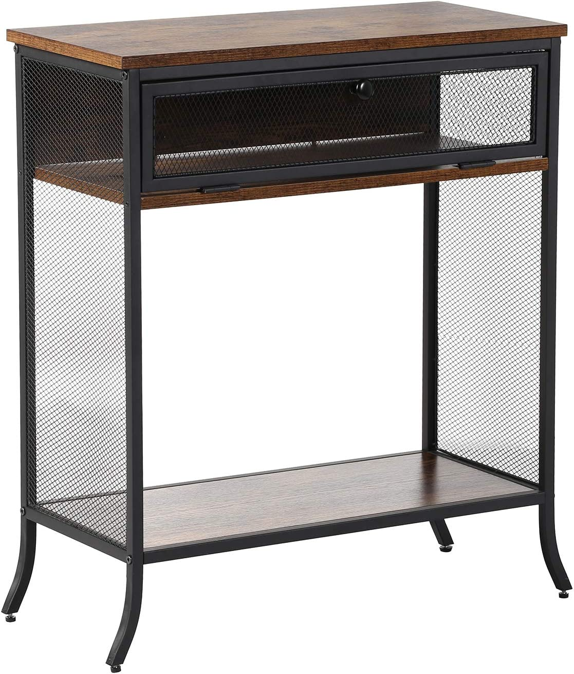 VECELO End Table Nightstand for Bedroom,Retro Brown, 24.7""