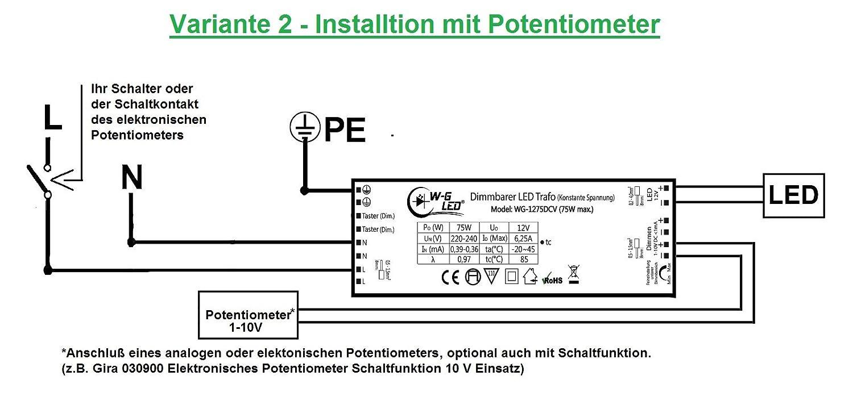 Dimmbarer-LED-Trafo 12V-DC 75W max. (dimmbar per Taster & 1-10V)_ ...