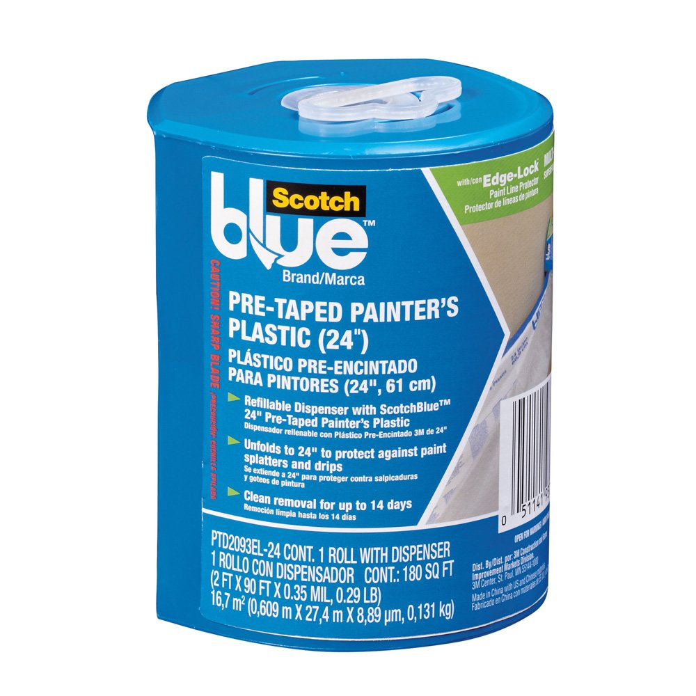 Scotch-Blue PTD2093EL-24 Pre-Taped Painter's Plastic, Unfolds to 24-Inch by 30-Yard 3M