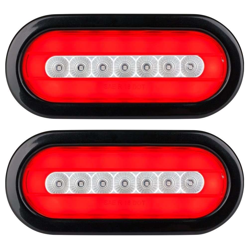 HALO LED 6'' Sealed Oval Stop/Turn/Tail Light - Clear Lens - Pair Set - A Durable, Replacement For Any Trailer.