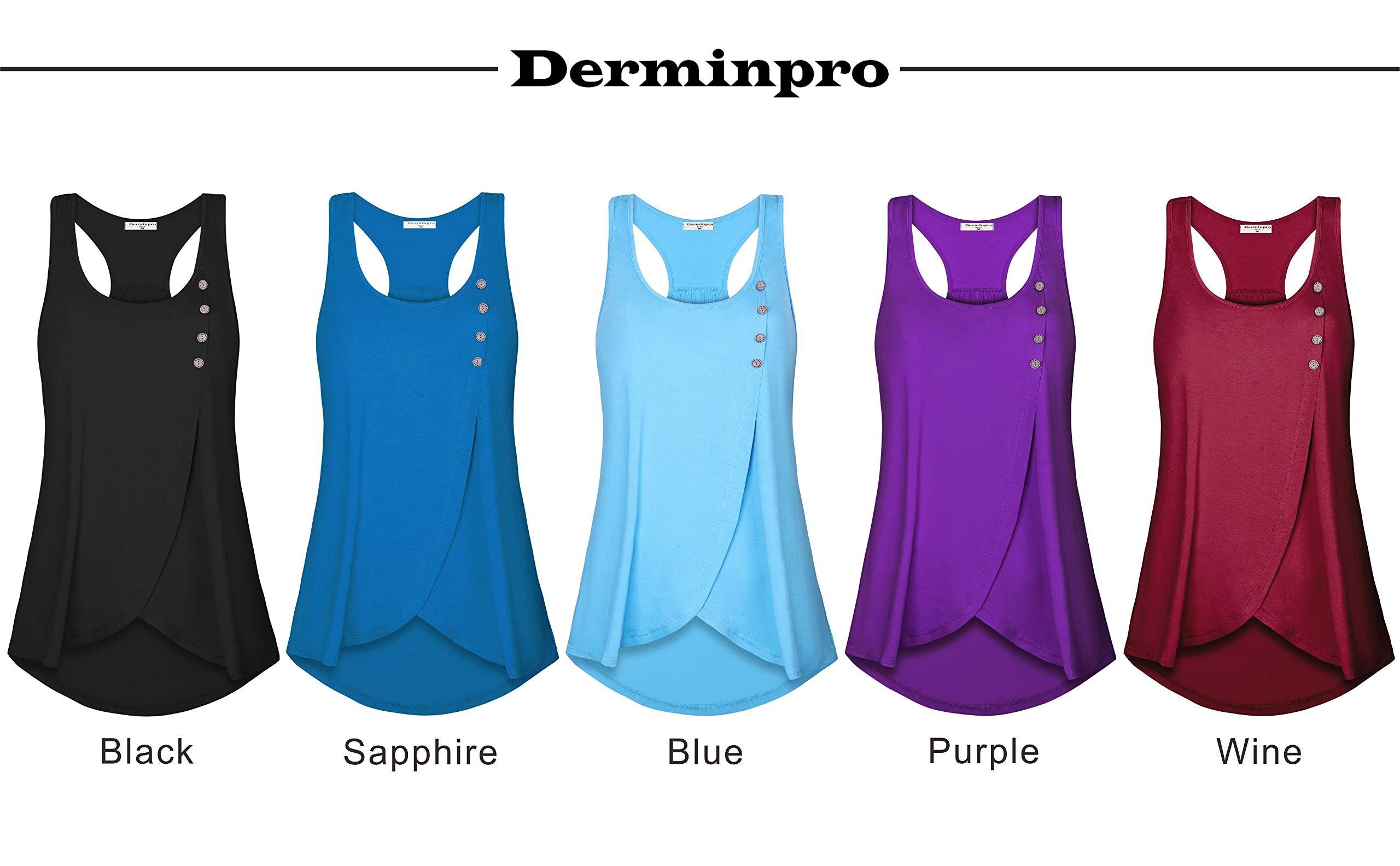 Derminpro Running Tank Tops for Women, Sleeveless Shirts Button Front A-Line Curve Hem Tunic Tops Black XX-Large