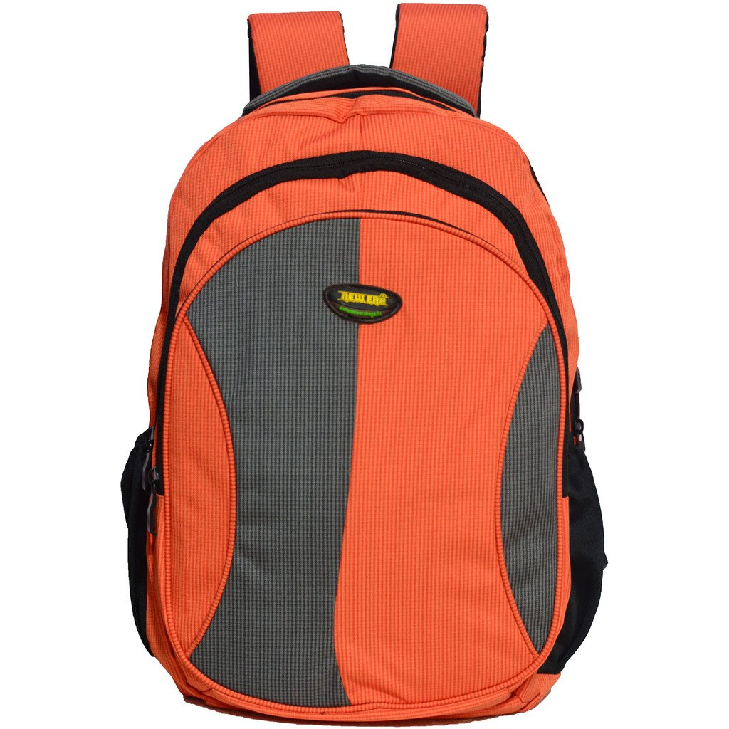 Newera Polyester 40L Orange Grey Backpack  school bags for boys ... da89a1a71dd8f