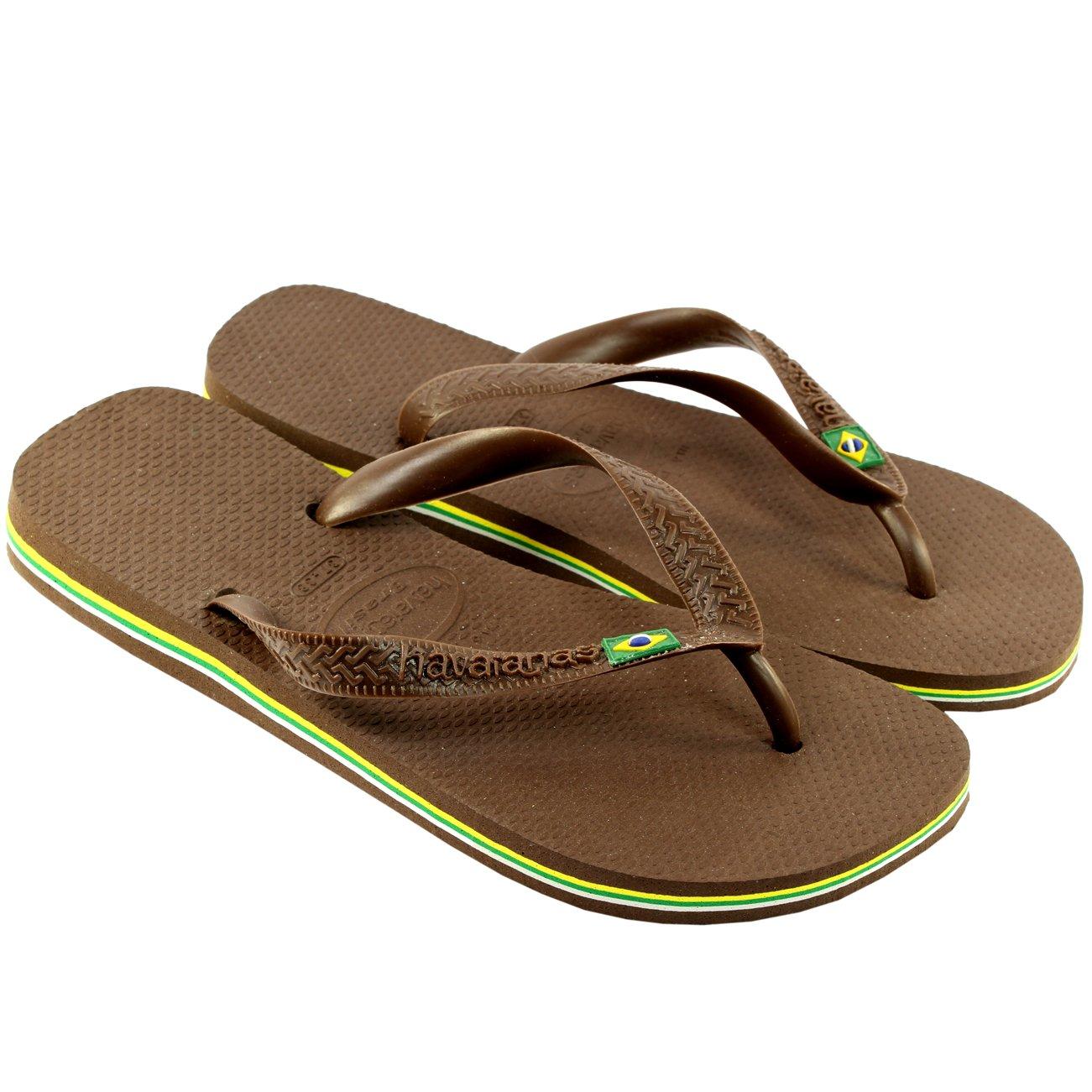Herren Sandalen Havaianas Brasil Flip Flop Sandals  35/36 EU|Dunkelbraun