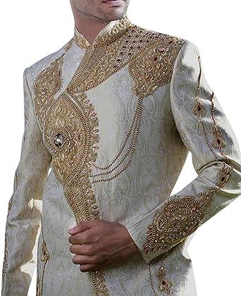 INMONARCH Groom Sherwani for/Men Wedding Cream Sherwani Heavily Embroidered SH0411