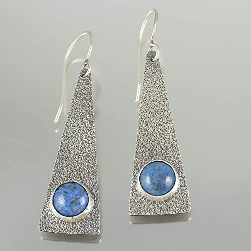 Sterling Silver Teardrop Earrings with Lapis Hand-fabricated