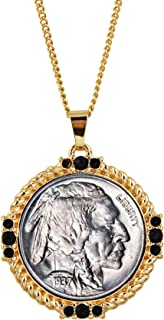 product image for American Coin Treasures Buffalo Nickel Medallion Goldtone Necklace Pendant-with Faceted Round Jet Glass Stones| Buffalo Nickel Medallion with Cable Chain | Layered in 24 KT Gold