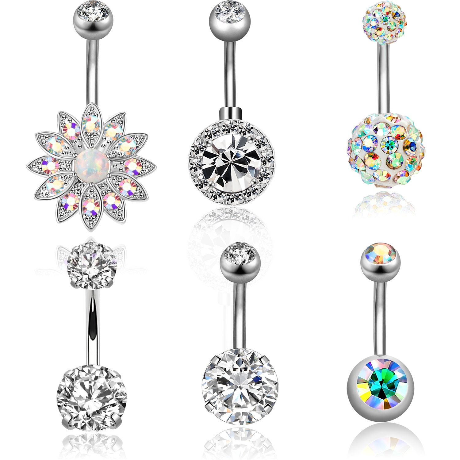Simulated Diamond Flower 18k Yellow Gold Triple Plated Dangle Belly Navel Ring Comfortable Feel Jewelry & Watches