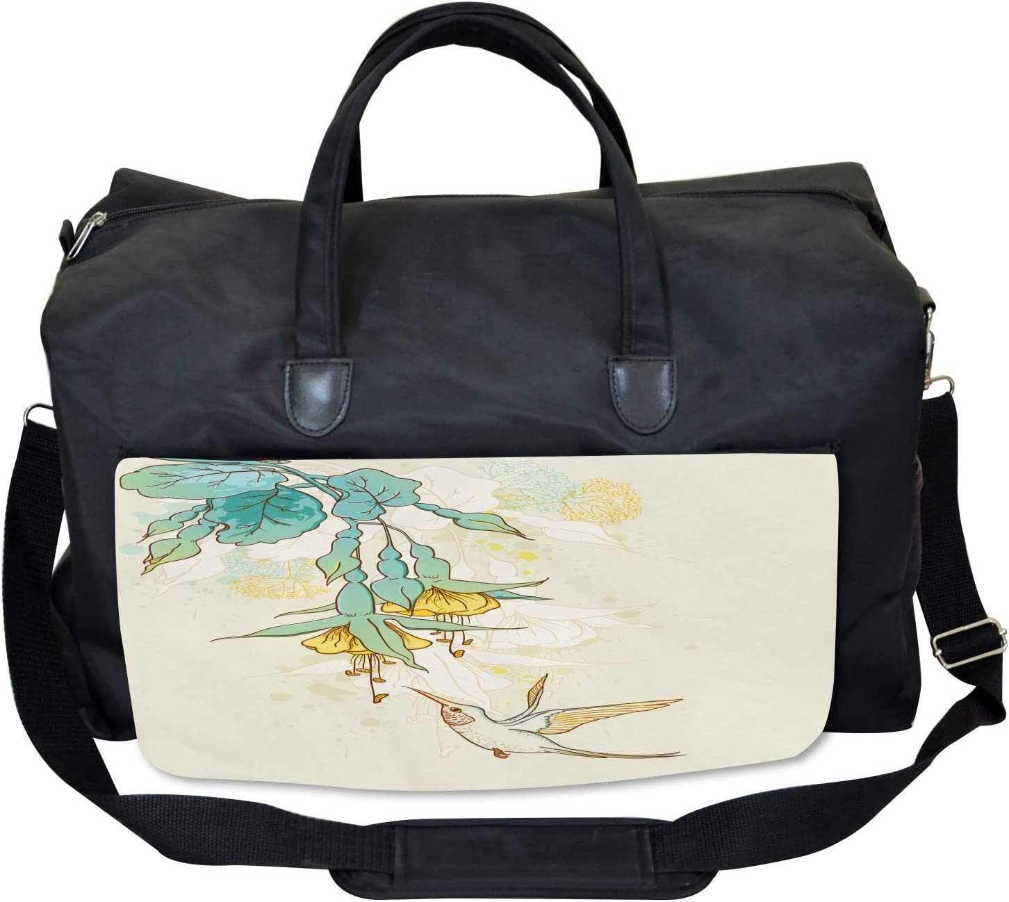 Large Weekender Carry-on Colibri Exotic Plant Ambesonne Animal Gym Bag