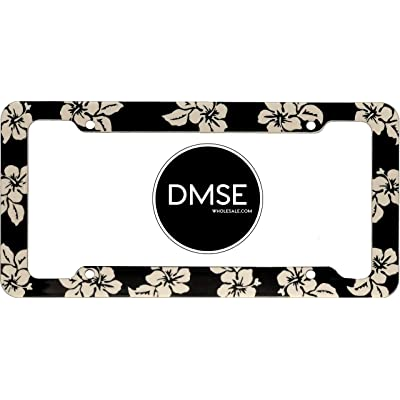 DMSE Tropical Hibiscus Flower Aloha Mahalo Hawiian Hawaii Plastic License Plate Frame Cover Holder Cool Decorative Design For Any Vehicle Car or Truck (Black): Automotive