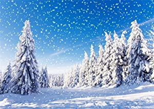 Leowefowa 7X5FT Vinyl Photography Backdrop Christmas Pine Tree Forest Snow Covered Landscape Snowflakes Sunshine Nature Winter Scene Happy New Year Background Kids Children Adults Photo Studio Props