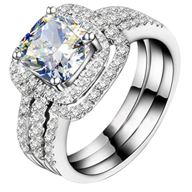 Amazon Com White Gold Plated Perfect 1ct Cushion Engagement Ring