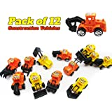 12 Pack Construction Vehicles Pull Back Style -Play Vehicles - Push and Play Engineering Trucks - Assorted Construction Designs