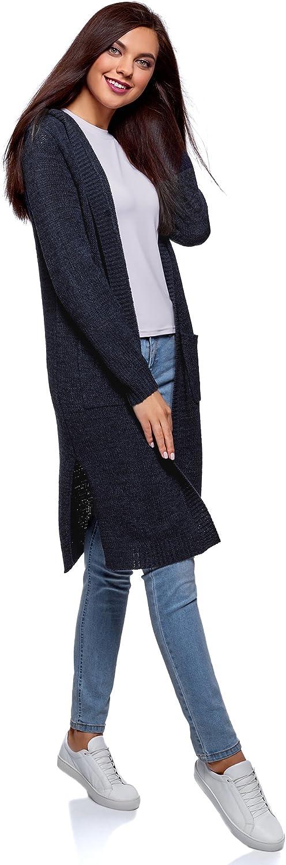 oodji Ultra Donna Cardigan con Cappuccio e Tasche Applicate